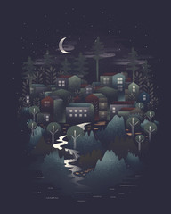 Dreamy small town illustration at night