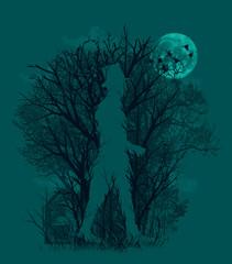 Illustration of man walking in woodland