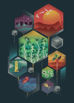 Illustrations within geometric matrix