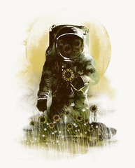 Artwork of astronaut picking flowers