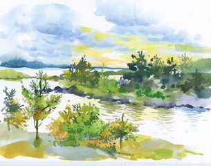 Watercolor autumn forest and lake landscape.