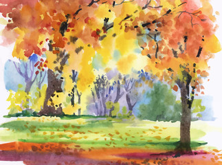 Watercolor autumn park yellow trees.