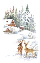 Watercolor winter landscape with deers.