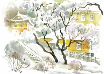 Watercolor winter landscape.