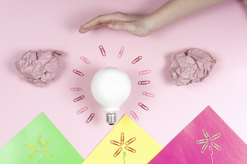 great idea concept with crumpled colorful paper and light bulb