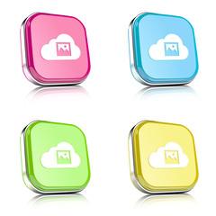 ikona na tle zaokrąglonego kwardratu z metalowym środkiem i odbiciem
