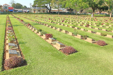 The Kanchanaburi War Cemetery (Don Rak), for the remains of 6,982 Allied prisoners of the World War II who died during the construction of the Death Railway, KANCHANABURI, THAILAND