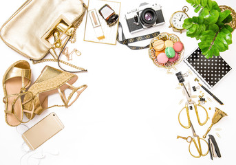 Fashion flat lay. Feminine golden accessories bag shoes office s
