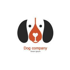 Single logo with a dog for veterinarian clinic, pet shop, dog walker, dog training.
