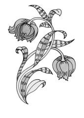 Beautiful hand-drawn monochrome flower illustration