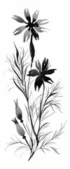 Beautiful hand-drawn monochrome herbs illustration