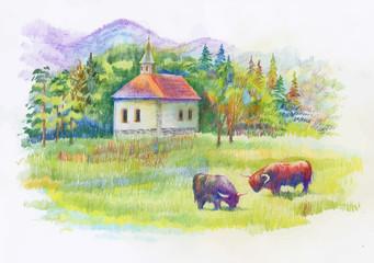Watercolor rural green summer day village.