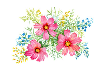 Flowers watercolor illustration. Manual composition. Mother s Day, wedding, birthday, Easter, Valentine s Day. Pastel colors. Spring. Summer