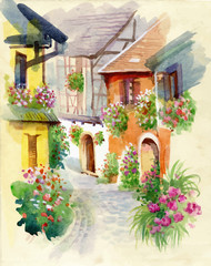 Watercolor rural village in green summer day.