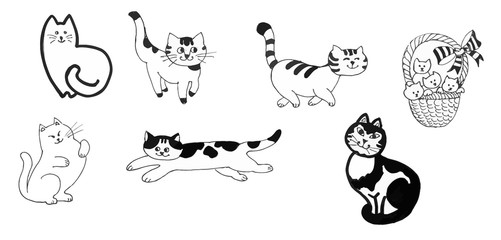Black and white cats and kittens set ink hand drawn illustration.