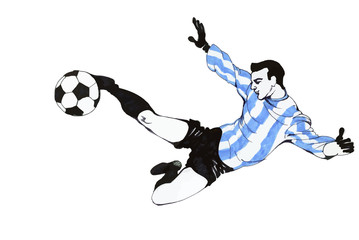 Football Soccer Player Wearing A Blue Striped Shirt Running and Kicking The Ball on A Field, Isolated on White Background.