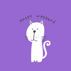Cute white cat good morning word illustration on purple background