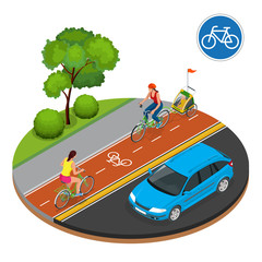 Isometric Bicycle road sign and bike riders