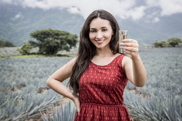 Mexican agave landscape with woman and tequila