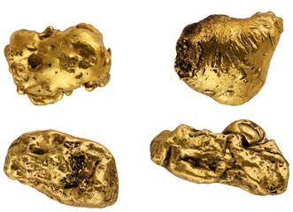 gold nuggets on a white background.