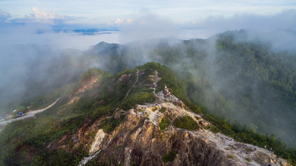 Phu Tajaw is the highest mountain in southern Thailand.in the morning fog on the hilltop fog like the sea