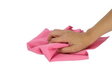 Hand holding a rag