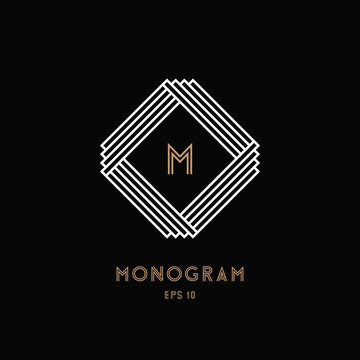 Geometric monogram design template. Square. Vector illustration EPS 10