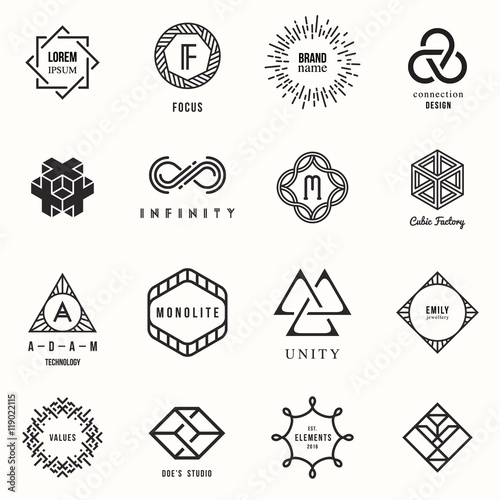 quotset of badges and labels elements modern geometric