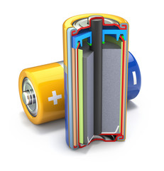 Cross section of dry cell battery