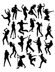 Activity People, Singer, Guitarist  Hip Hop and Modern Dancer Silhouettes