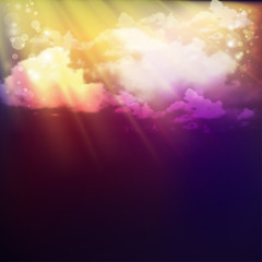 fantastic background with clouds and rays of the sun. Vector illustration  gradient mesh. Mystic night image.