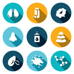 Vector Set of Respiratory Disease Icons. Lungs, Asthma, Smoking, Allergy, Medications, Spruce, Virus, Flu, Immunity.