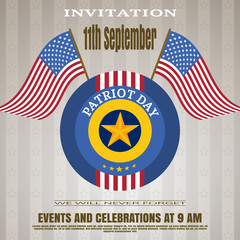 Patriot Day invitation - vector picture on a brown background with lines and stars.
