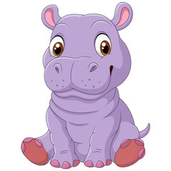 Cute hippo sitting