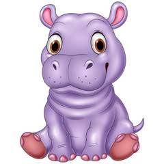 Cartoon funny baby hippo sitting