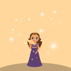 Beautiful cartoon princess with lights on the beige background. Vector illustration