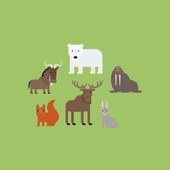 Different animals flat design icons set. Vector illustration