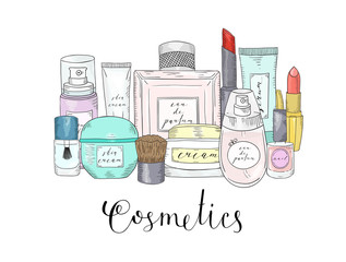 Hand drawn cosmetics set. Beauty and makeup.