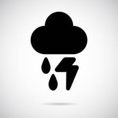 Cloud, Rain & Thunder icon on gray background. Vector art.