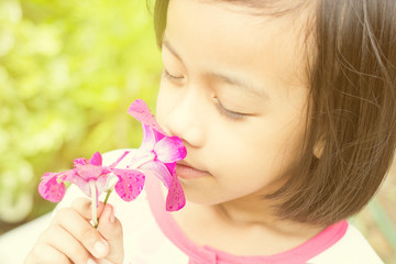 girl and orchid