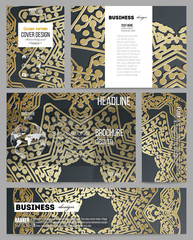 Set of business templates for presentation, brochure, flyer or booklet. Golden microchip pattern on dark background with connecting dots and lines, connection structure. Digital scientific vector