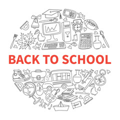 Icons hand drawn back to school