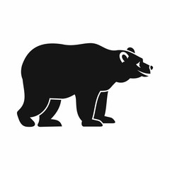 Bear icon in simple style isolated on white background. Animal symbol