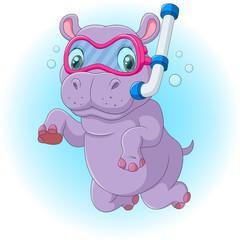 Cute hippo diving