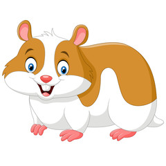 Cartoon funny hamster isolated on white background