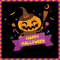 Little cute pumpkin for happy halloween invitation card.Illustration vector.