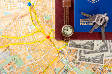 Travel journey trip consept, sights destination marked by pin on the map. Copy space