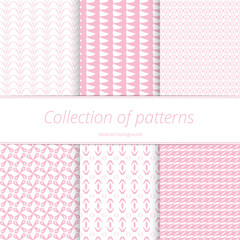Set pale endless backgrounds. Monochromatic pastel texture. Simple graphic swatch. Vector illustration.