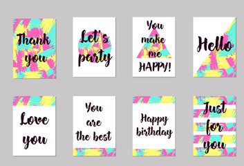 Greeting cards set. Abstract colorful background. Templates for