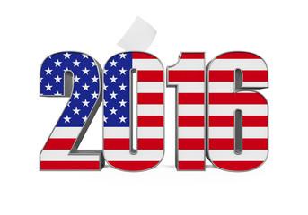 """2016"" Text with USA Flag"